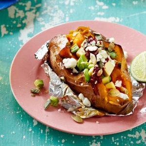 sweet potatoes with avocado and lime